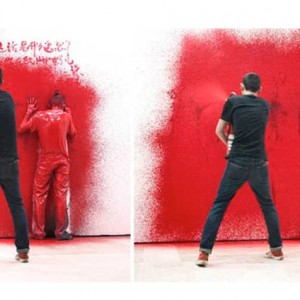 "The red chat wall - Performance à l'exposition ""Plus que parfait"" - 11'25"" - 2011"